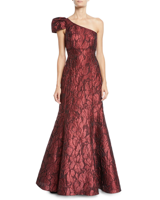 Aidan Mattox One-Shoulder Jacquard Ball Gown   Neiman Marcus