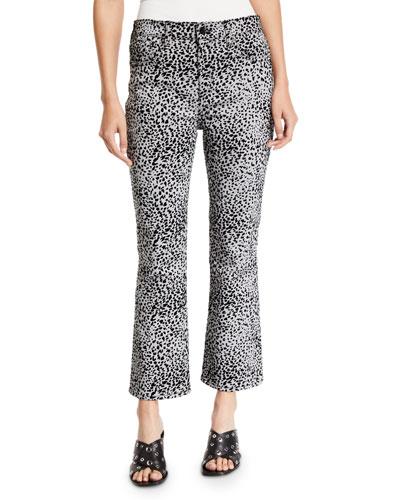 Hana High-Rise Flare Cheetah-Print Jeans