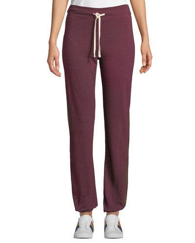 Basic Track-Stripe Drawstring Sweatpants