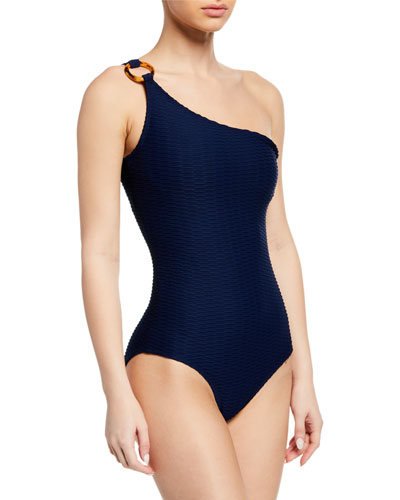 One-Shoulder Textured One-Piece Swimsuit