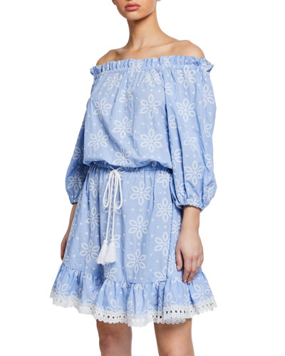 Daisy-Embroidered Off-Shoulder Flounce Dress