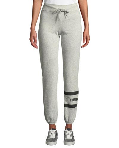 Basic Metallic-Stripe Drawstring Sweatpants