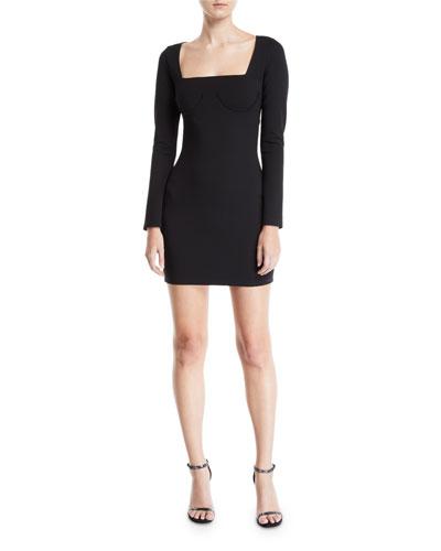 Romana Long-Sleeve Cutout-Back Mini Dress