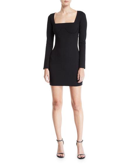 Donna Mizani Romana Long-Sleeve Cutout-Back Mini Dress