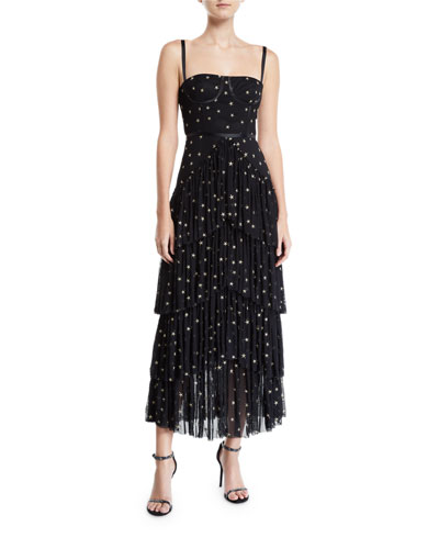 Pierre Starry Tiered Gown