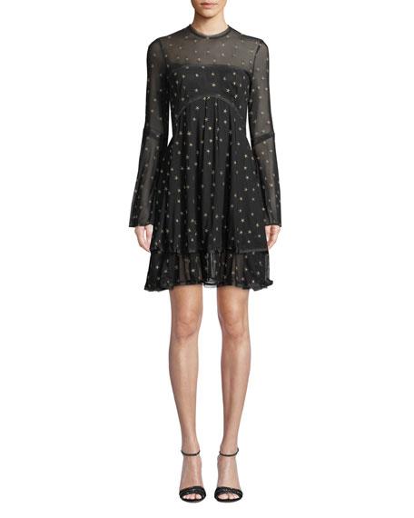 Donna Mizani Saint Sheer Long-Sleeve Star Mini Dress