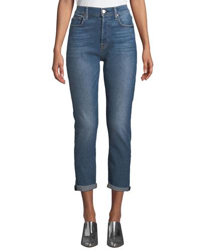 Josefina High-Waist Boyfriend Jeans with Rolled Hem