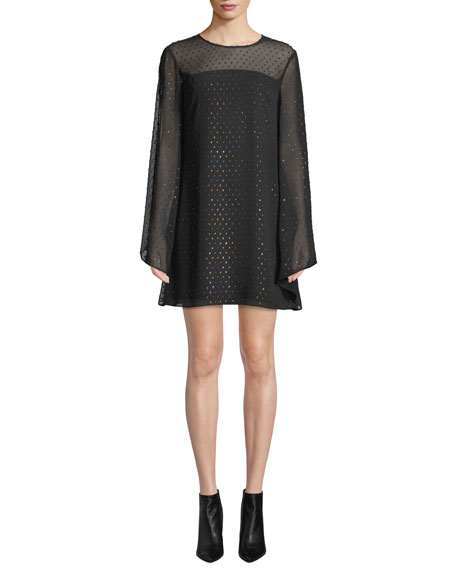 Trina Turk Dresses TESS 2 SWISS DOT LONG-SLEEVE MINI DRESS