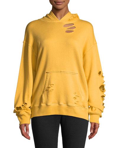 Oversized Distressed Pullover Hoodie Sweatshirt