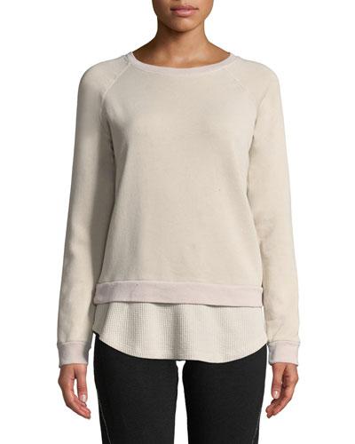 Double-Layer Raglan Pullover Sweatshirt