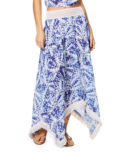 Riviera Printed Handkerchief Long Skirt with Fringe