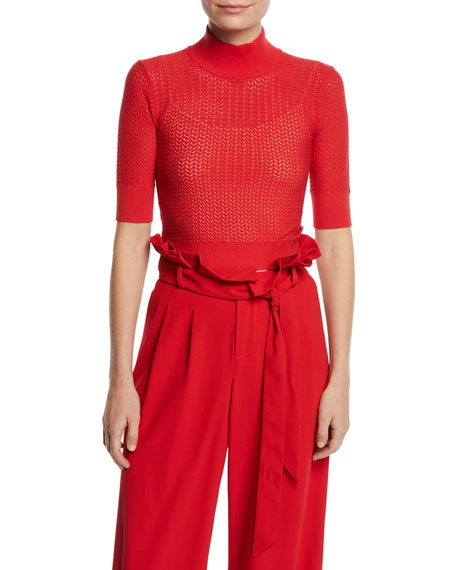 Alice And Olivia Clothing LANIE POINTELLE HIGH-NECK SHORT-SLEEVE PULLOVER