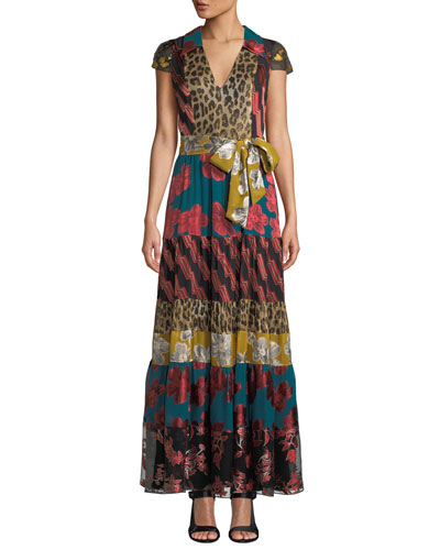 Della Short-Sleeve Maxi with Waist Tie