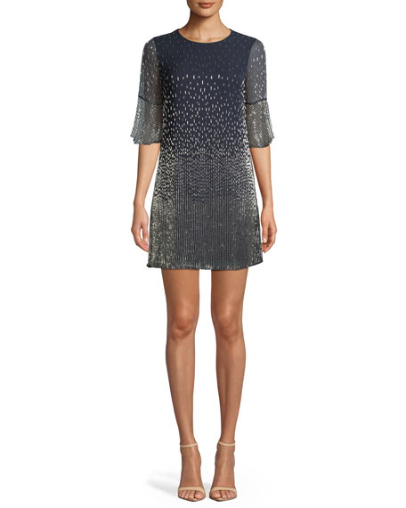 Alice + Olivia Thym Embellished Shift Trumpet-Sleeve Tunic