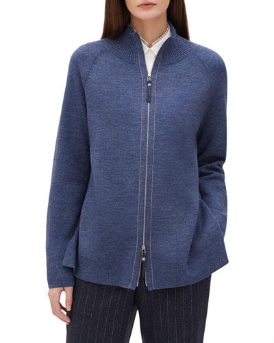 Zip-Front Plaited Cardigan