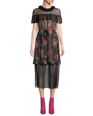 fcc226fdf2b Elliatt Vita Dotted Tulle Midi Dress with Floral-Embroidered Overlay