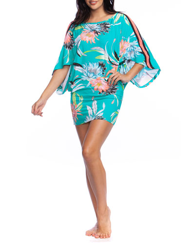 Shangri La Floral Side-Stripe Coverup Tunic