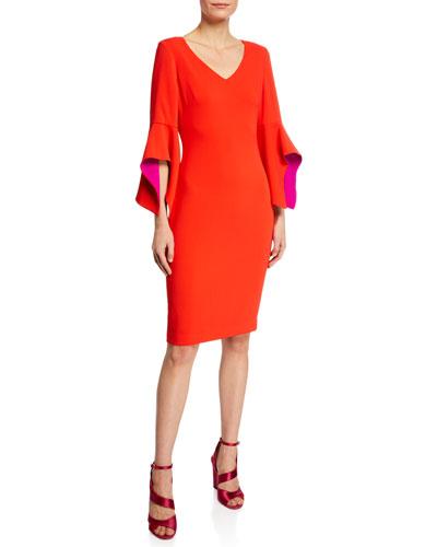 V-Neck Two-Tone Sleeve Sheath Dress