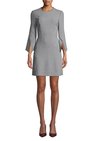 Badgley Mischka Collection Split-Sleeve Mini Dress