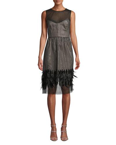 Margot Feather & Sequin Sheer Dress