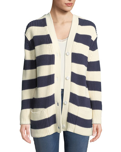 The Tempest Striped Button-Front Sweater
