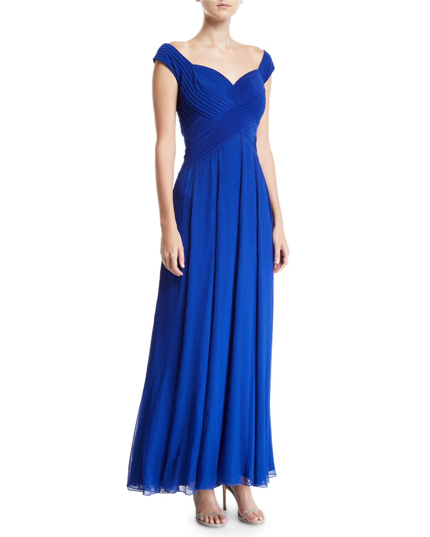 251e8be496e27 Tadashi Shoji Sleeveless Pintuck Jersey   Chiffon Gown