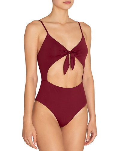 Alexia Tie-Front Cutout One-Piece Swimsuit