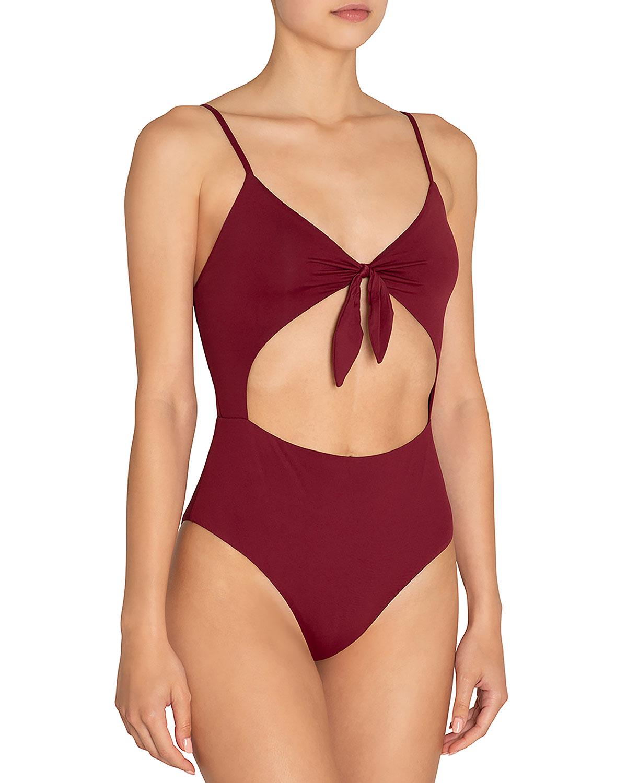 77d8ded97b078 Eberjey Alexia Tie-Front Cutout One-Piece Swimsuit