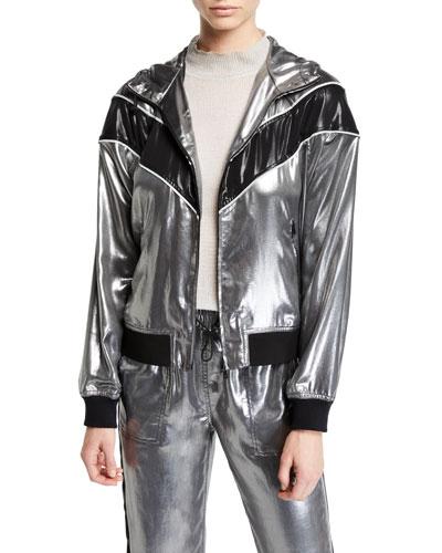 Sloane Metallic Hooded Track Jacket