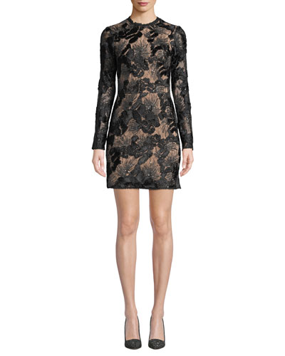 Long-Sleeve Mock-Neck Lace Cocktail Dress