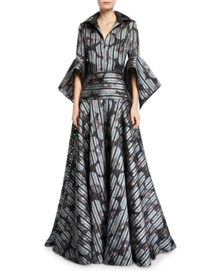 6a1c0cc5c2a Badgley Mischka Collection Striped Floral Shirtdress Gown