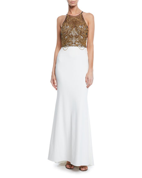0b7d2a8223 Badgley Mischka Collection Beaded Halter Column Gown with