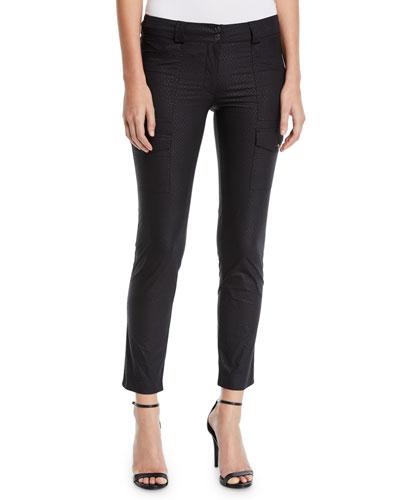 Kate Skinny Cargo Python-Print Pants