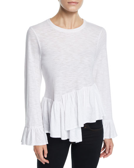Aziza Bell-Sleeve Asymmetrical Cotton Top in White