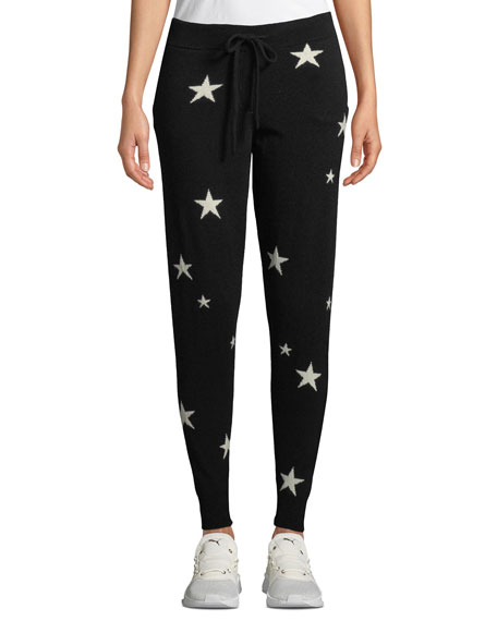 Chinti & Parker Cashmeres STAR-INTARSIA CASHMERE TRACK PANTS