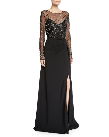 Badgley Mischka Collection Illusion Long-Sleeve Crystal-Trim Gown