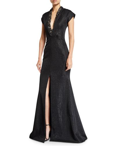 Metallic Cap-Sleeve Deep-V Gown w/ Beading