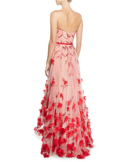 Strapless 3D Floral Embroidered High-Low Gown