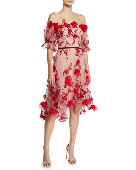 Marchesa Notte Off-The-Shoulder 3D Floral Embroidered Cocktail Dress, Red