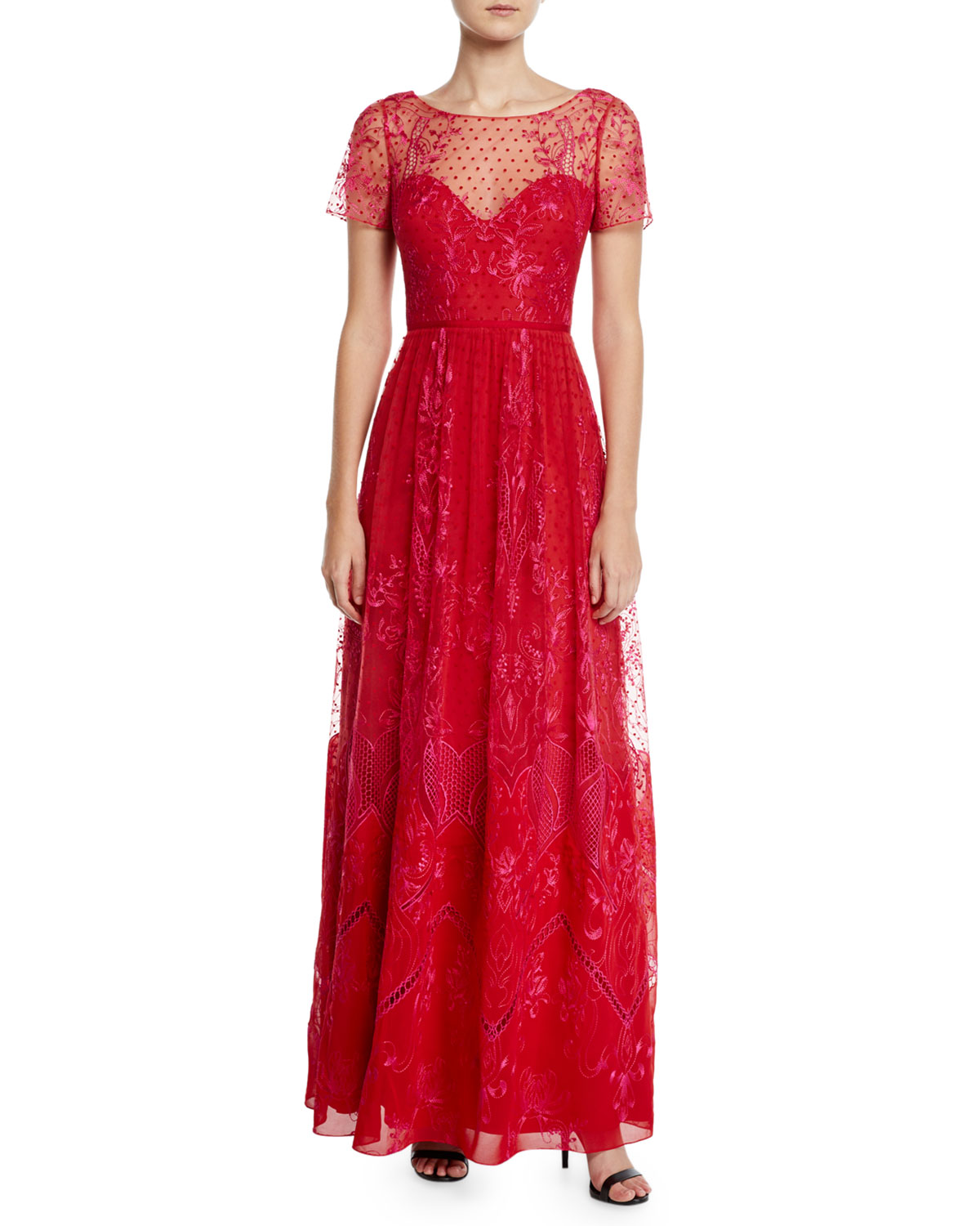Red Short-Sleeve Dotted Chiffon Tulle and Guipure Lace Gown