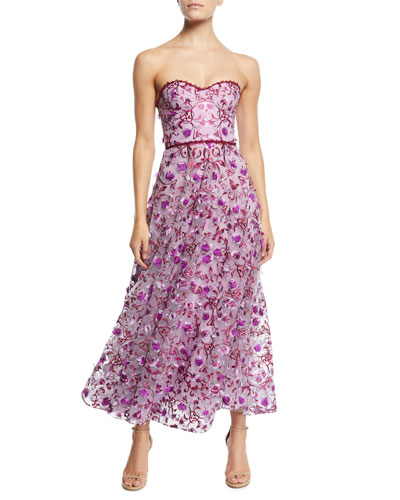 Strapless 3D Floral Embroidery Dress