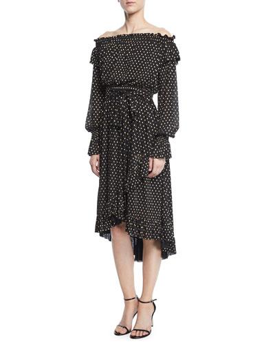 Medley Off-the-Shoulder Ruffle Dot Dress