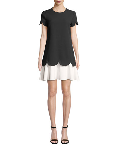 Dania Short-Sleeve Two-Tone Mini Dress w/ Scalloped Edges & Tiered Hem