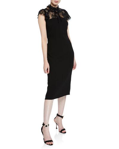 Varela Mock-Neck Cap-Sleeve Sheath Dress w/ Lace Yoke