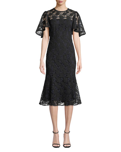 Harmonia Lace Midi Dress w/ Flounce Hem