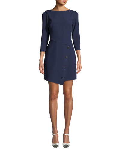 Upton Boat-Neck 3/4-Sleeve Asymmetric Dress w/ Button Skirt