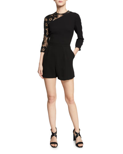 Marseille Asymmetric 3/4-Sleeve Romper w/ Floral Lace Combo