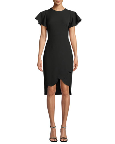 Dade High-Low Flutter-Sleeve Crepe Dress
