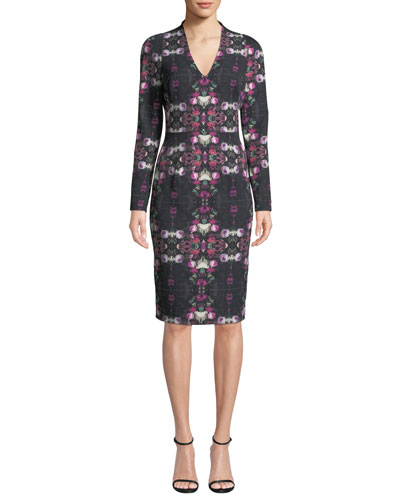 Mindy Long-Sleeve Printed Sheath Dress
