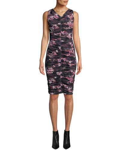 Yasmin Sleeveless V-Neck Floral-Printed Shirred Mesh Dress